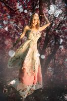 Woman in Fantasy scene with butterfly during autum by DWaschnigPhotography