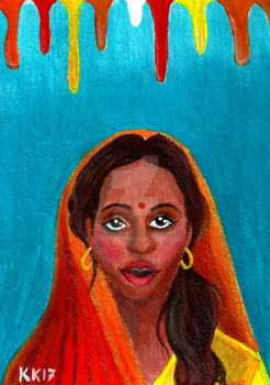 Holi Festival   Indian Girl Acrylic Painting by LoVeras