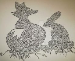 The Fox and The Hare by Jaime-Alice