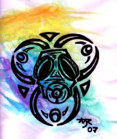 Watercolor Gas mask by TadpoleOfDoom