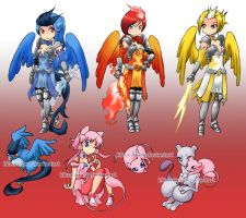 Gijinka: kanto legendaries by klinanime