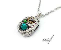 Steampunk Necklace Vintage Watch Movement Green by dirtym0rf