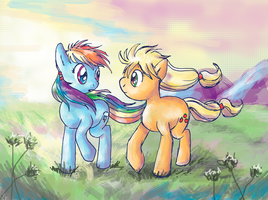 Rainbow Dash and Applejack in the Valley by lotothetrickster