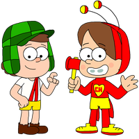 Dipper and Mabel as El Chavo and El Chapulin by ElMarcosLuckydel96