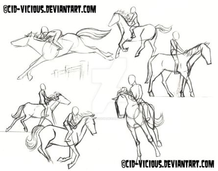WIP - Horse Riding Sketches by Cid-Vicious