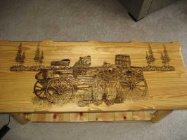 Wood burned bear coffee table by eveningdawn