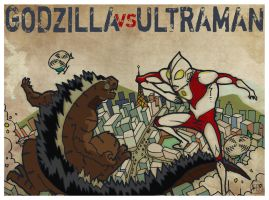 Godzilla VS Ultraman by yureisan