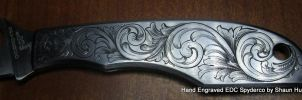 Spyderco EDC Knife Hand Engraved Scrolls by Shaun by shaun750