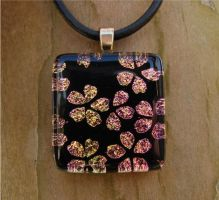 Pink Yellow Blossom Glass by FusedElegance