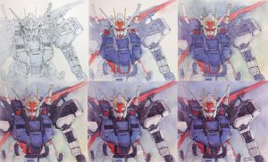 Gundam watercolor step by step by Trunnec