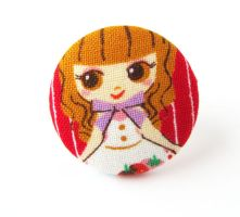 Large ring girl Lolita cute red brown kawaii girly by KooKooCraft