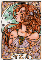 Tea Art Nouveau ATC by April-Lily