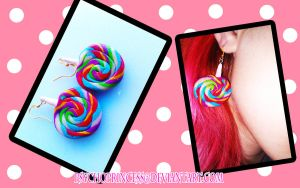 Rainbow Lollipop Earrings by Psycho--Princess