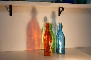 Colored Bottles by Lindalees