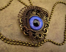 Gothic Steampunk Carnival Eye - Purple Pendant by LadyPirotessa