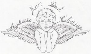 Angel Lower Back Line Art by tattoo-parlour