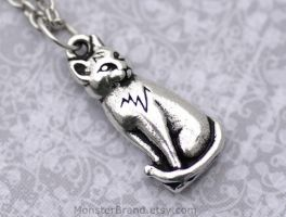 Silver Cat Necklace by foowahu-etsy