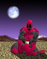 Crouching Deadpool by MadRob