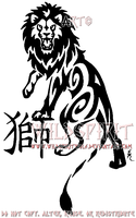 Tribal Lion And Kanji Tattoo by WildSpiritWolf