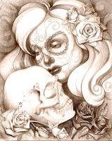Day of the Dead with Skull by mystiqueink
