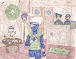 Kakashi gets coffee by koumori-no-hime