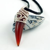 Sterling Silver, Copper and Red Agate Claw Pendant by Gailavira