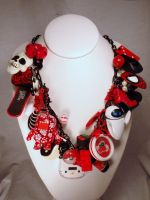 Red Rampage Black and White Chunk Charm Necklace by PoniesOfDOOOM