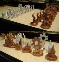 Sculpted Steampunk chess set by H1ppym4n