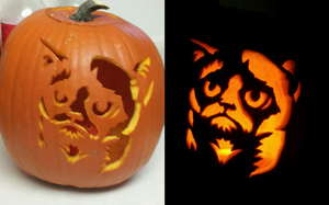 Grumpy Cat Pumpkin by Moon-Potato