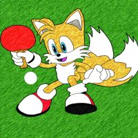Tails playing ping pong by DrewKitsune