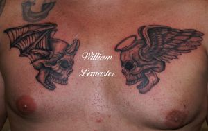 Devil and Angel Skulls - Check - Bill Lemaster by SmilinPirateTattoo