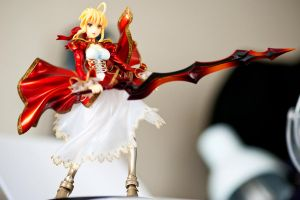 Red Saber in my room by Nendotan