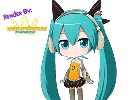 Chibi Miku Hatsune ODDS-ENDS Render by EssenceOfDreams