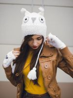 Hand knitted White Owl beanie by NatalieKnit