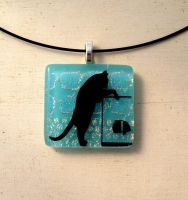 Cat Chasing The Fish Fused Glass Pendant Necklace by FusedElegance