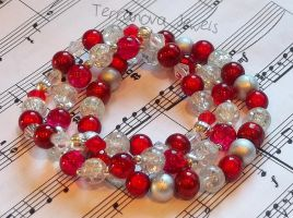 Red and silver stretchy bracelet set by TerraNovaJewels