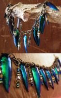 Beaded Brass Jewel Beetle Bracelet ~sold~ by undead-medic