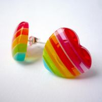 Rainbow Heart Earrings by drrtymagic