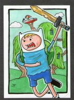 Finn The Human To the Rescue sketch card by johnnyism