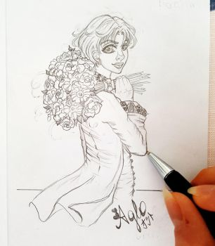 Haruka with a bouguet (Sketch) by AgloAros