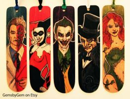 Pyrography Batman Villain Bookmarks by BumbleBeeFairy