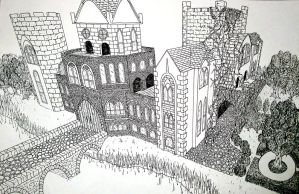 Castle in 3-point perspective by loserninja