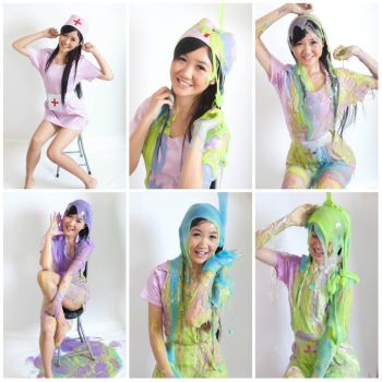 Cute nurse Candy slimed by mmasia