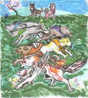 Okami and the Canine Warriors by CelestialBrushGod