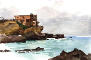 House on Cliff by Nightblue-art