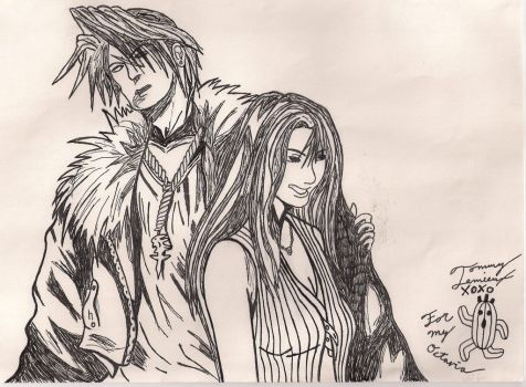 Squall and Rinoa B+W by Tommyb345