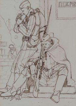 WWII Russian soldiers by warman707