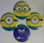 Minions Faces Set of 4 buttons, Pinback 2.25 inch by MaverickTears