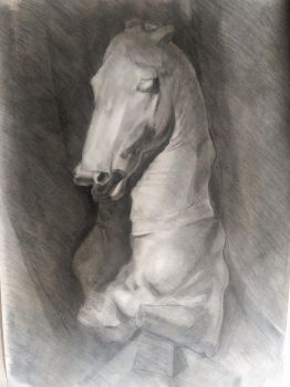 Charcoal horse bust 100x70 cm by BlondeAnt