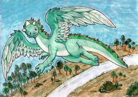 Ordian the teal dragon_Commission for MCsaurus by Wollfisch